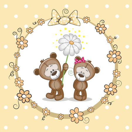 Greeting card with two Bears in a frame Vector