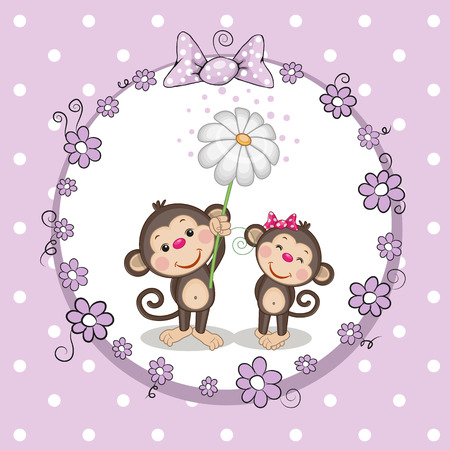 two animals: Greeting card with two Monkeys in a frame