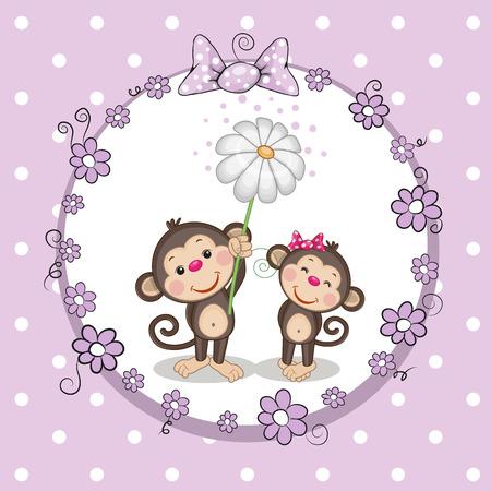 caricaturas de animales: Tarjeta de felicitaci�n con dos monos en un marco