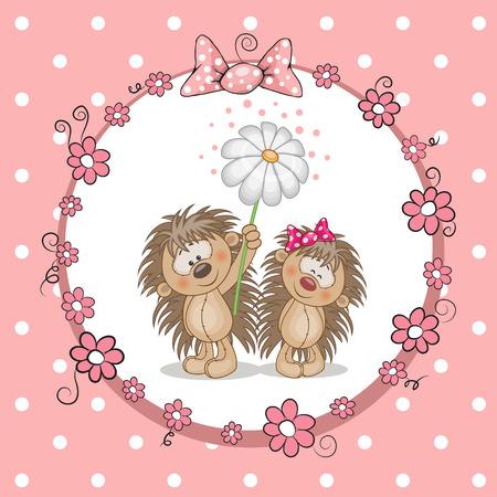 cartoon hedgehog: Greeting card with two hedgehog in a frame Illustration