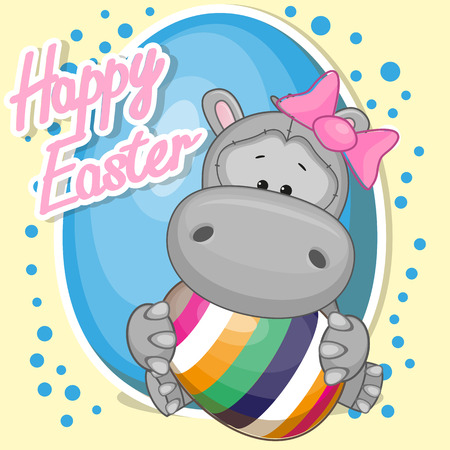 hippo cartoon: Greeting card Cute Hippo girl with egg