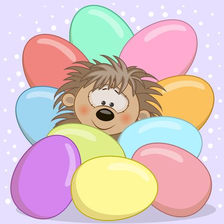 cartoon hedgehog: Hedgehog peeking out from behind the eggs