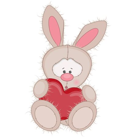 cute rabbit: Cute Rabbit with heart isolated on a white background Illustration