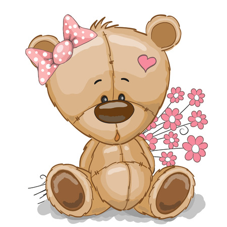 cute cartoons: Teddy Bear girl with pink flowers isolated on white