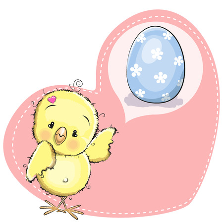 cartoons animals: Greeting card Cute Dreaming Chicken and blue egg