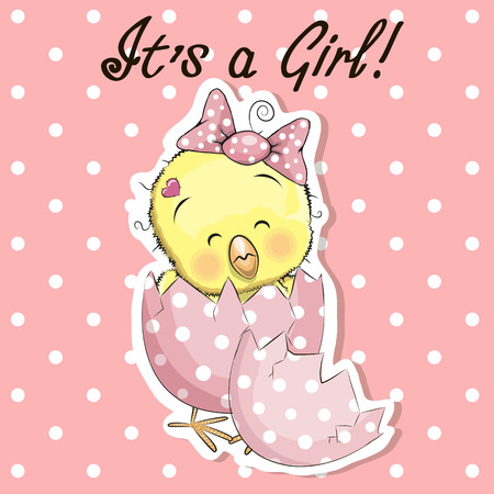 hatchling: Greeting card cute chicken girl on a pink