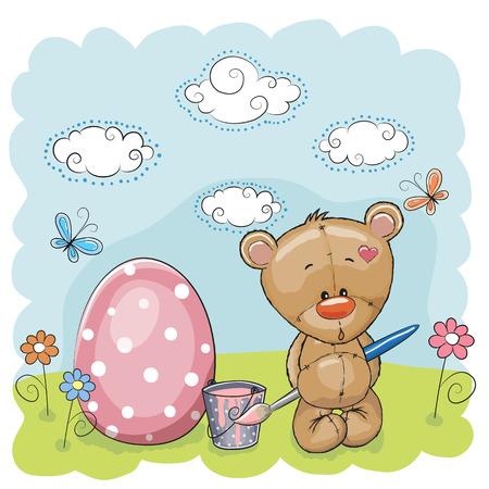 Cute Teddy Bear paint eggs on the meadow Vector