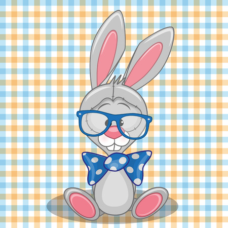 teenagers only: Hipster Bunny on a plaid background Illustration