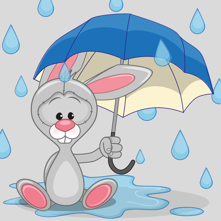Greeting card Bunny with umbrella Vector