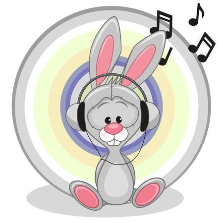 Cute cartoon Bunny with headphones Vector