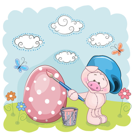 Cute Pig with brush is colored an egg Vector