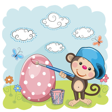 Cute Monkey with brush is colored an egg Vector