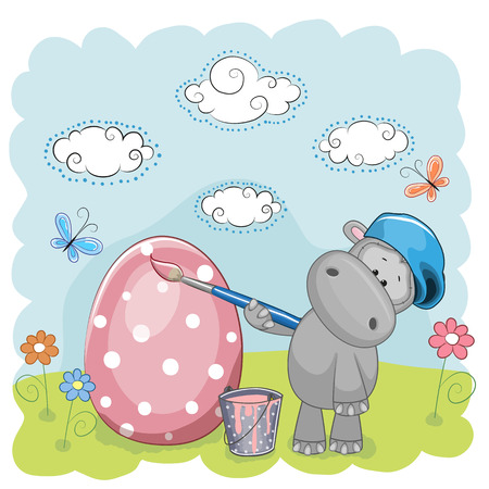 Cute Hippo with brush is colored an egg Vector