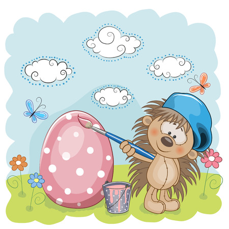 Cute Hedgehog with brush is colored an egg Vector