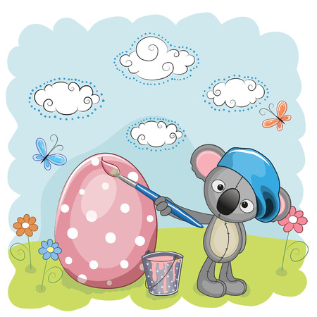 Cute Koala with brush is colored an egg Vector