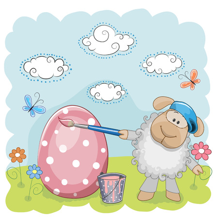 Cute Sheep with brush is colored an egg Vector
