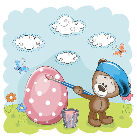 birth day: Cute Teddy Bear with brush is colored an egg