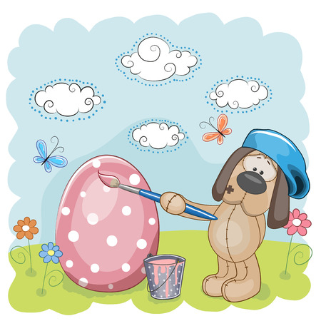 Cute Dog with brush is colored an egg Vector