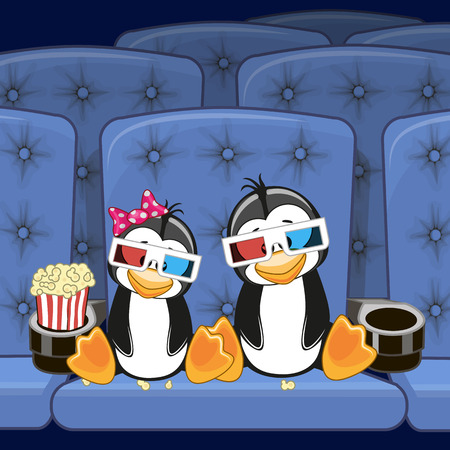 Two Penguins is sitting at the Cinema Illustration