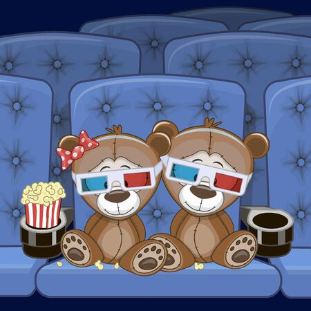 watching movie: Two Cute Teddy Bears is sitting at the Cinema Illustration