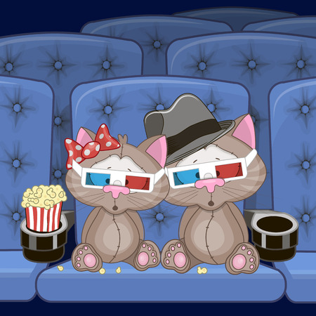 cat open: Two Cute Cats is sitting at the Cinema Illustration