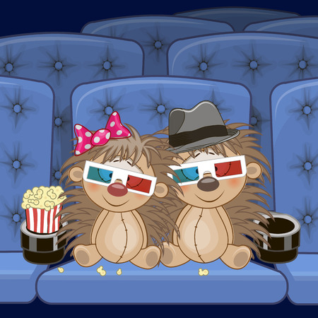 Two Cute Hedgehogs is sitting at the Cinema