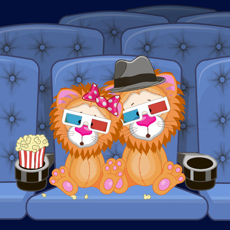 watching movie: Two Cute Lions is sitting at the Cinema