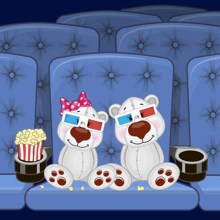 Two Cute Polar Bears is sitting at the Cinema