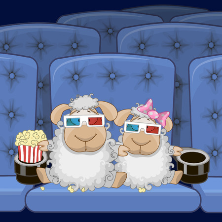 only adult: Two Cute Sheep is sitting at the Cinema