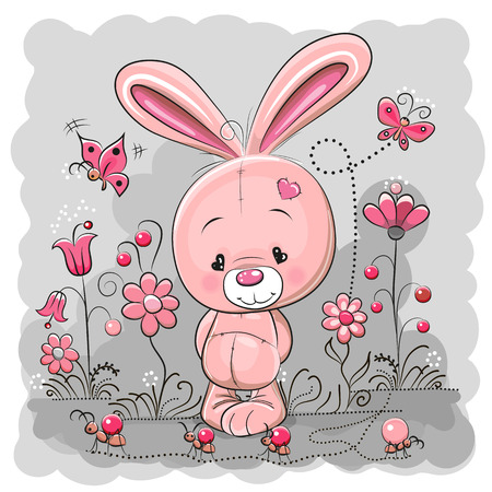 Cute Cartoon Rabbit on a meadow with flowers and butterflies Vectores