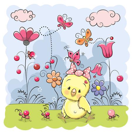 Mignon de poulet de bande dessinée sur une prairie de fleurs et de papillons Banque d'images - 38328640