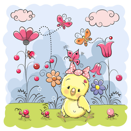 Cute Cartoon Chicken on a meadow with flowers and butterflies