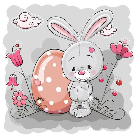 Cute Cartoon Rabbit on a meadow with egg Vector