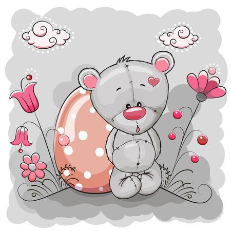 Cute Cartoon Teddy Bear with egg on a meadow Vector
