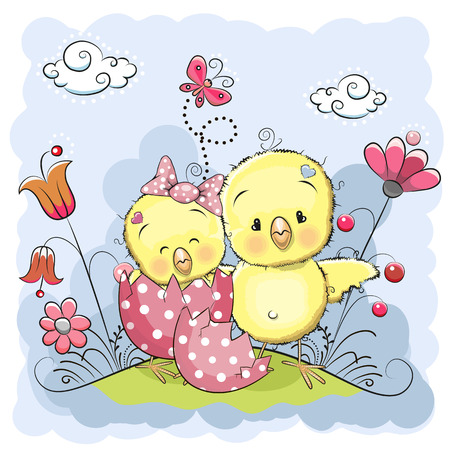 Cute Cartoon Chicks on a meadow with flowers and butterflies Vector