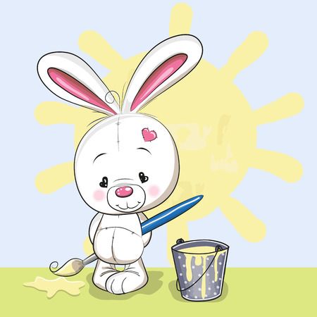 Cute Rabbit with brush is drawing a sun Illustration