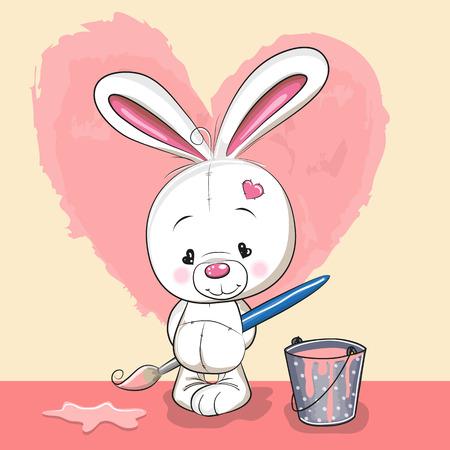 Cute Konijn met borstel het tekenen van een hart