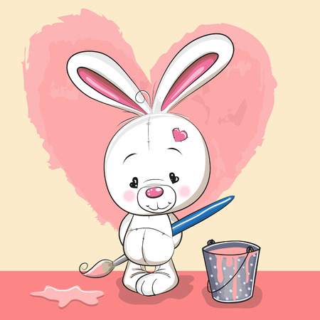 Cute Rabbit with brush is drawing a heart