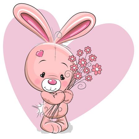 Lindo conejo de dibujos animados con flores sobre un fondo del corazón Foto de archivo - 38328659