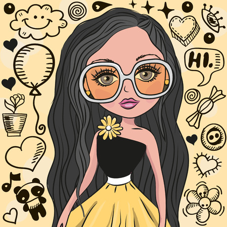computer model: Cute Girl with glasses on a yellow Illustration