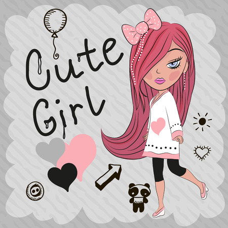 hair bow: Cute girl with red hair and a bow