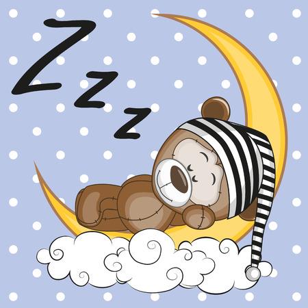 caricaturas de animales: Oso de peluche lindo está durmiendo en la Luna Vectores