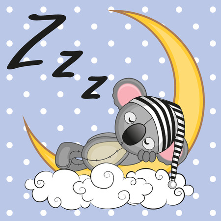 Cute Koala is sleeping on the moon Çizim