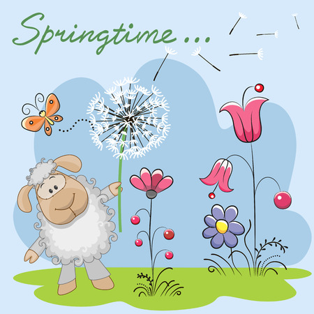 Cute Sheep with dandelion on a meadow Vector