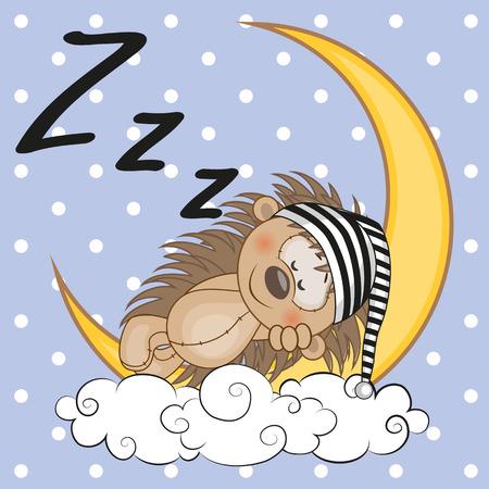 cartoon hedgehog: Cute Hedgehog is sleeping on the moon Illustration