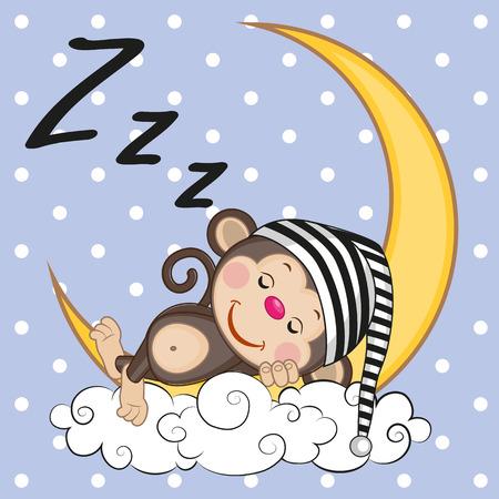 かわいいサルが月面に眠っています。  イラスト・ベクター素材