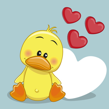 Greeting card Duck with hearts