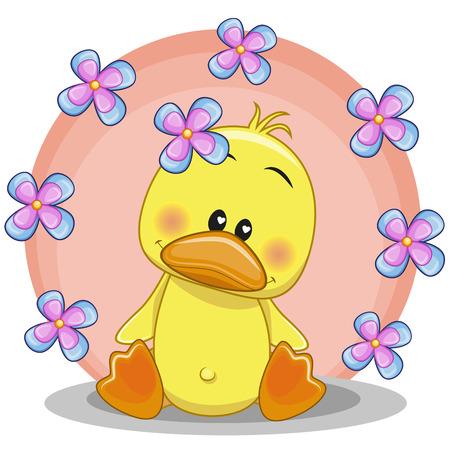 Carte de voeux de canard avec des fleurs