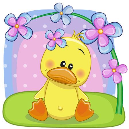pato caricatura: Pato Tarjeta de felicitación con flores Vectores