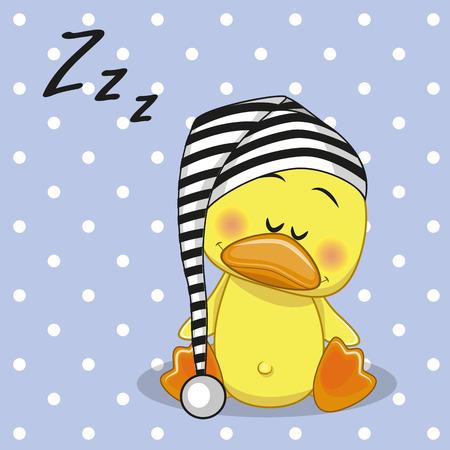 pato caricatura: Dormir pato con una gorra Vectores